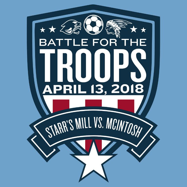 Starr's Mill is set to host the the annual Battle for the Troops rivalry game against the McIntosh Chiefs. The girls' game will start at 5:55 p.m., and the boys' game will begin at approximately 7:55 p.m.