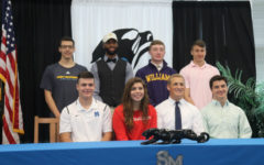 """Nine Starr's Mill seniors signed letters of intent to play collegiate athletics.  Not pictured: Senior John Henson who signed with Piedmont College for track. """"He is in our top-five for our mile and two mile,"""" track head coach Chad Walker said. """"He has had a great four years at Starr's Mill."""""""