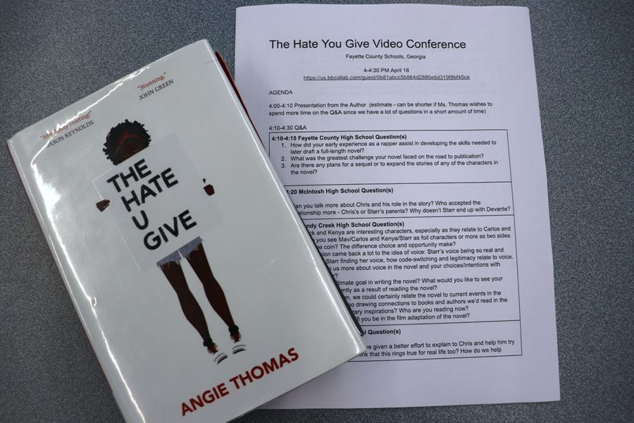 Starr's Mill senior Brittany Clarke came up with six questions for the video conference with best selling author, Angie Thomas. Four schools from Fayette County High Schools shared the majority of the meeting with the author to ask questions about herself and her book.