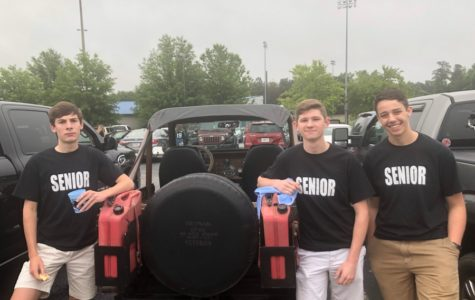 May 18, 2018 - Rising seniors Carson Hines, Maxwell Meyhoefer, and Zach Garcia celebrate at the class of 2019 senior tailgate. The event officially begins the class's last year of high school.