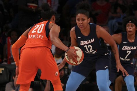 Atlanta Dream forward Damiris Dantas defends Connecticut Sun guard Alex Bentley. The Dream's dominant defense forced 20 turnovers and rejected seven shots in their win over Connecticut. After trailing by 13 at one point in the third quarter, Atlanta used a 17-0 run to defeat the Sun 75-70.