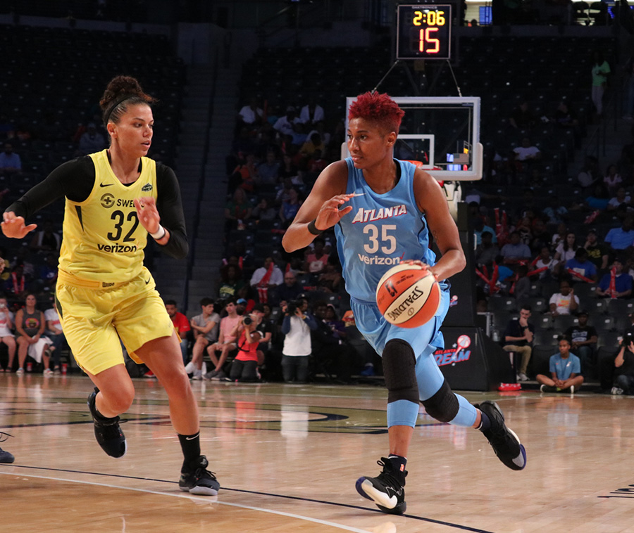Star forward Angel McCoughtry drives to the basket. McCoughtry, a nine-year WNBA veteran, scored a team-high 26 points along with four rebounds.