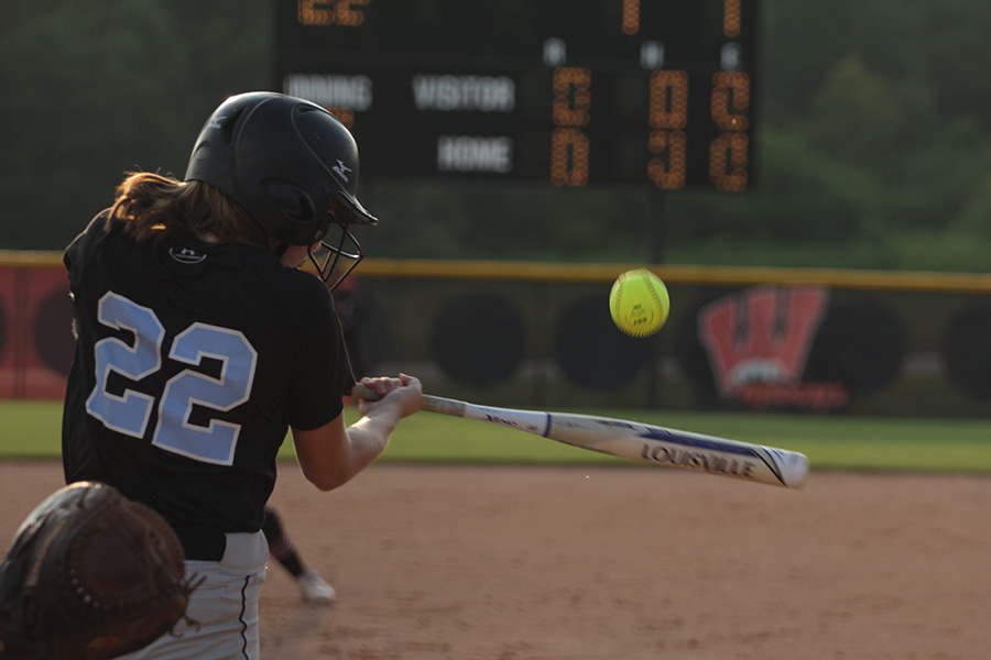 Junior Paige Andrews bats. Andrews hit two RBIs in the fourth inning to increase the Lady Panther lead.