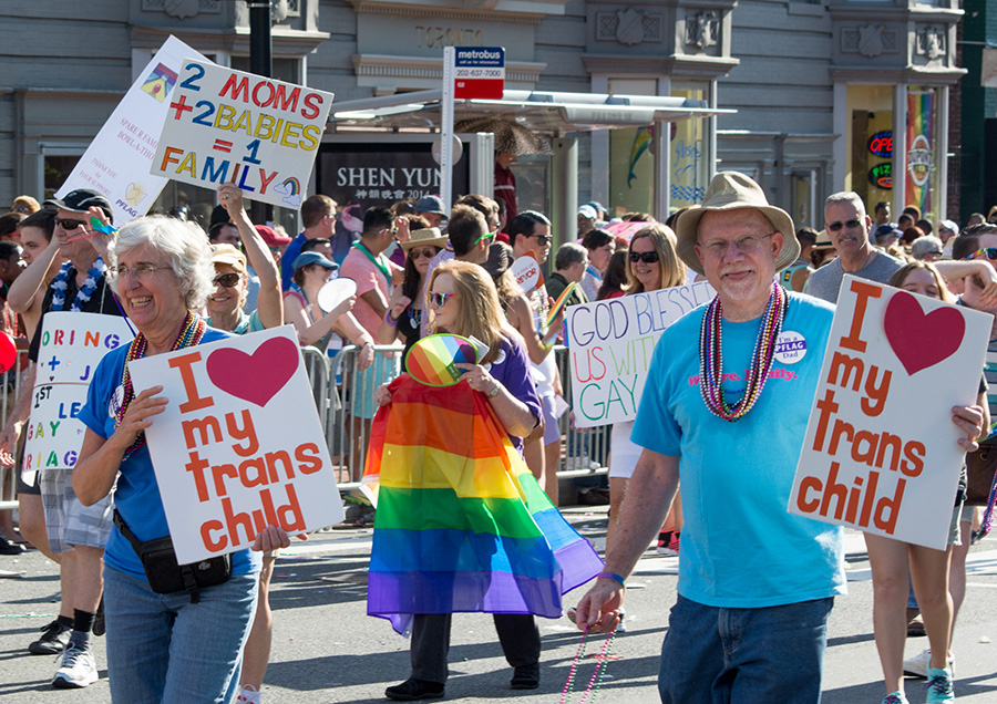 PFLAG marches in the Washington, D.C. pride parade on June 7, 2014. This representation and societal respect that PFLAG is advocating for is not debatable. It is a basic human right.
