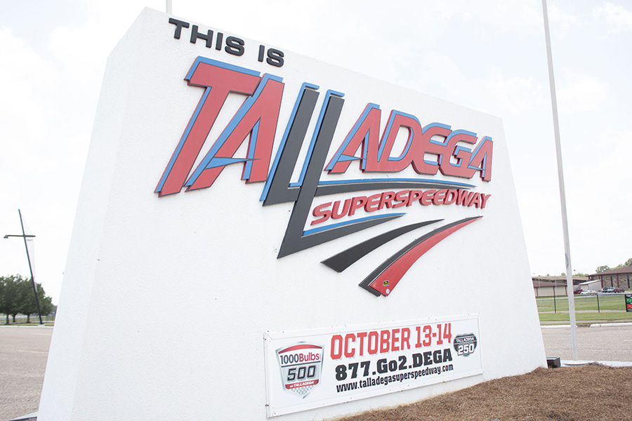 Just a short drive from Peachtree City, visitors are welcomed to Talladega by this sign at the entrance of the track. The next races at the superspeedway will be held the weekend of Oct. 13.