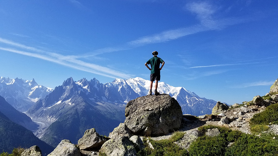 In the mountains of France, I stand and face Mont Blanc. At the end of summer, my father and I spent ten days on a life-changing hike around this monumental mountain.