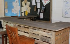 One of the high tables history teacher Jason Flowers made for his new flexible classroom. The tables were made from extra pallets left after the summer renovation. The seating allows the students to learn in an informal setting.