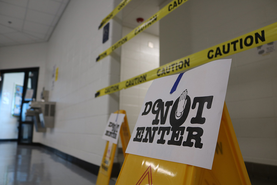 The bathroom on the world language hall continues to be shut down after a clog that happened last week. This adds another project to the list of jobs the school has to do in order to finish renovations before the school year ends.