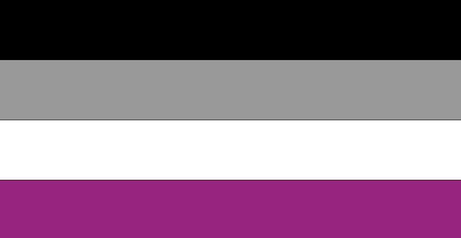 The asexual flag. Many people don't know what this flag is or what it represents -- a group of people who are forgotten and insulted for their sexual orientation.