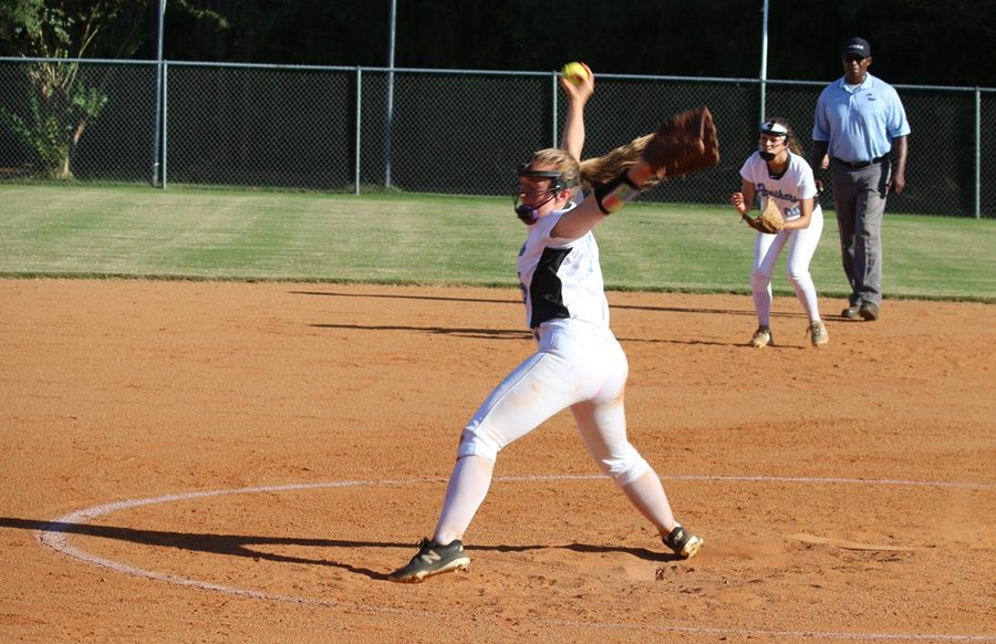 Freshman+Sarah+Latham+pitches+to+an+opposing+Wildcat.+Latham+pitched+an+outstanding+game+against+Whitewater%2C+only+allowing+four+hits+in+the+6-0+win.+On+offense%2C+Latham+added+a+run+off+an+infield+error.