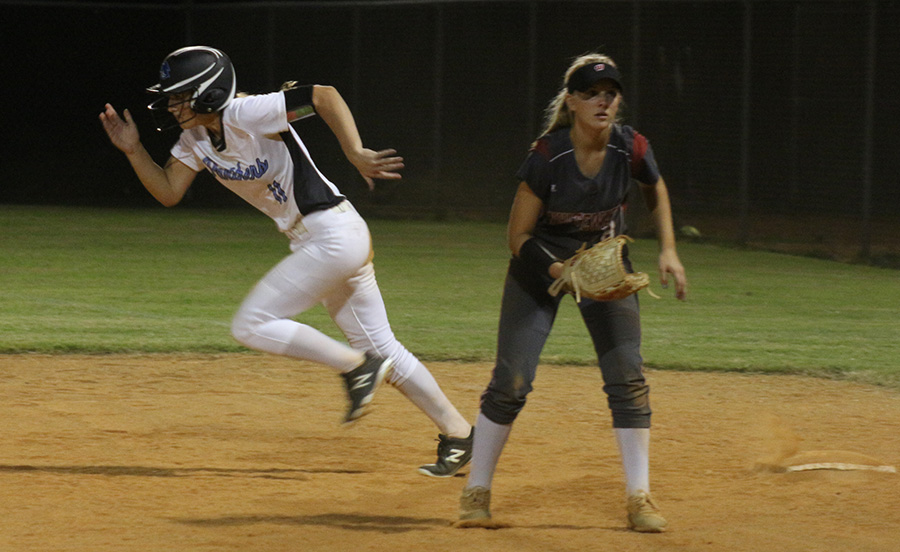 Freshman Sidney Blair runs to second against Whitewater. Starr's Mill continued their region dominance against the Wildcats, defeating them 7-3.