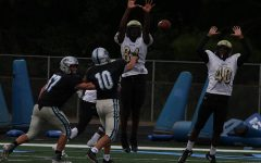 Freshman Colin Bartek looks to pass against Fayette County. Despite struggling to pass a week ago, Bartek did well against the Chiefs, firing one of his three touchdowns on the day into the end zone in the win. Bartek also added two rushing touchdowns.