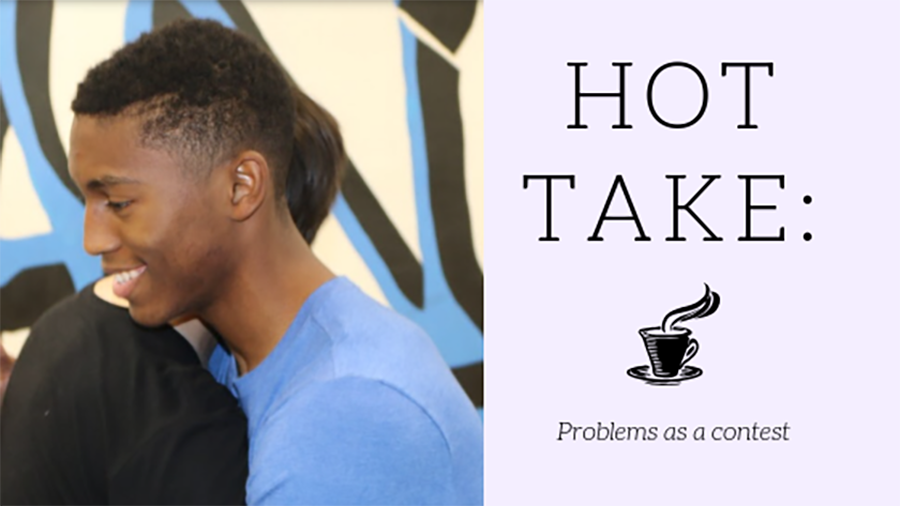 Two students depict their close friendship by hugging each other. Discussing about your problems can strengthen a friendship, but only if the discussion doesn't become a competition.