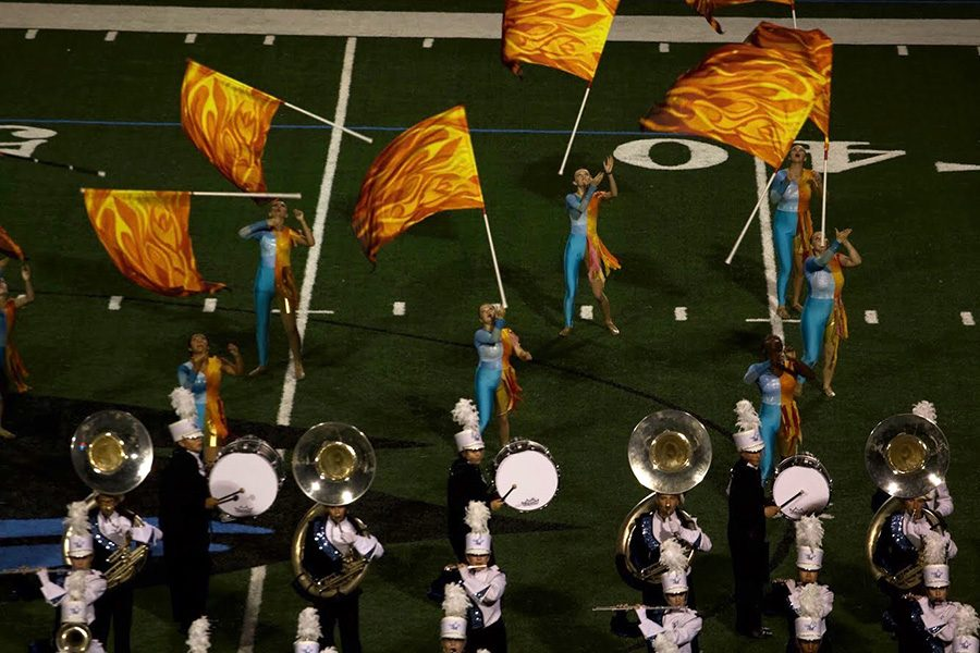 """Starr's Mill Panther Pride marching band performs a movement from their new Fire and Ice routine. This specific movement takes place at the end of """"the wedge."""""""