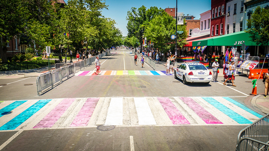 During June 2017, Washington D.C. had the transgender flag painted on this sidewalk along with six others in a show of pride against transphobia. One significant obstacle to equality for trans people is that so many equate gender to genitalia.