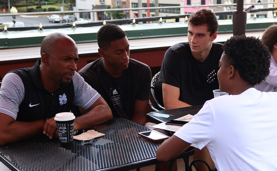 Staff Writer Ty Odom sits down with seniors Nate Allison (right) and Julian Lynch (center), and head coach Charlemagne Gibbons. Last season, the Panthers captured their first ever region championship and made it to the Elite 8 of the GHSA State Playoffs. Under new leadership, Starr's Mill will look to improve upon an already talented and successful roster.