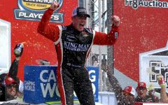 Timothy Peters, driver of the No. 25 Kingman Chevrolet for GMS Racing, celebrates his Fr8Auction 250 victory at Talladega Superspeedway. Peters made a last lap pass to score his first victory of the season.