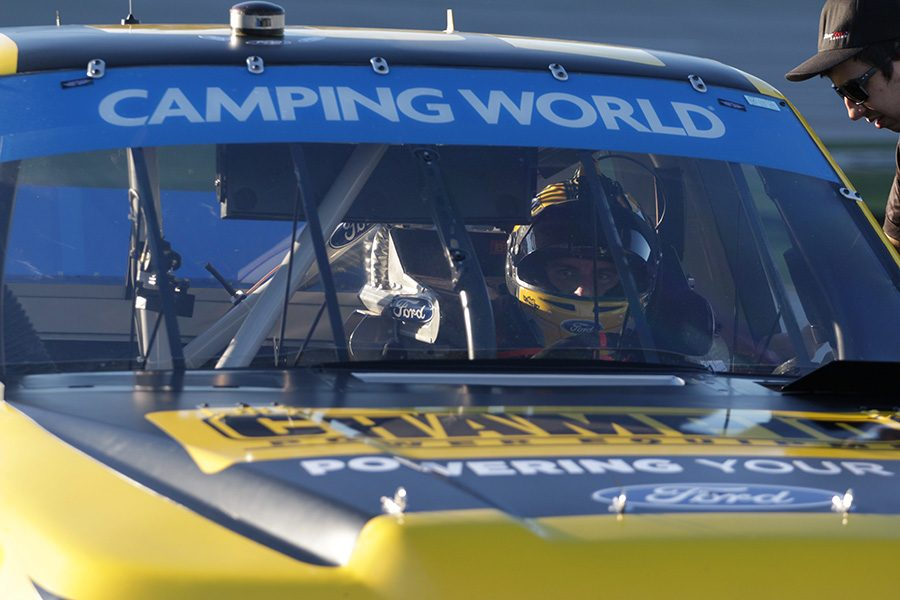 Grant+Enfinger%2C+driver+of+the+No.+98+Champion+Power+Equipment%2FCurb+Records+Ford+F-150+for+ThorSport+Racing%2C+sits+in+his+truck+after+making+a+qualifying+lap+in+round+one.+He+struggled+throughout+the+practice+sessions%2C+but+rebounded+and+qualified+fourth+for+tomorrow%E2%80%99s+Fr8Auctions+250+at+Talladega+Superspeedway.+%E2%80%9CWe+had+a+coil+that+went+bad%2C+we+didn%E2%80%99t+know+it+at+the+time%2C+but+it+was+going+bad%2C%E2%80%9D+Enfinger+said.+%E2%80%9CWe+had+no+speed+and+no+RPM.%E2%80%9D