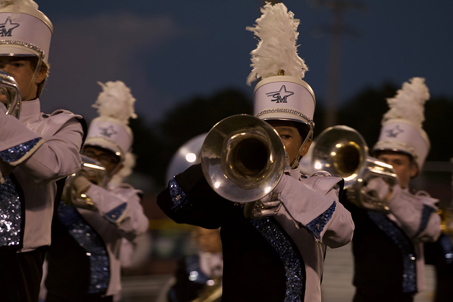 """Panther Pride marching band member performs the """"Fire and Ice"""" show."""" Last weekend the Starr's Mill marching band competed in the Armuchee Invitational and placed second overall."""
