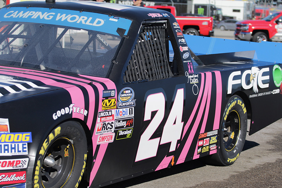 In the first NASCAR Camping World Truck Series practice at Talladega Superspeedway, Justin Haley, driver of the Fraternal Order of Eagles No. 24 Chevrolet Silverado for GMS Racing, paced the field with a top speed of 193.49 mph. Overall, Chevrolets dominated, claiming the top five speeds in the morning session.