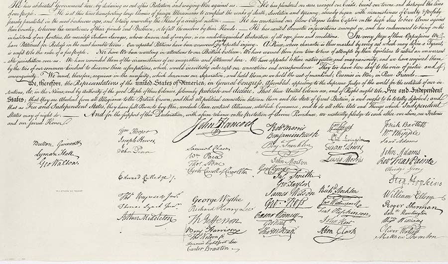 Founding fathers' signatures on the Declaration of Independence.  All great things are accomplished through hard work, and there is no better example of that than the one set by America's founding fathers.