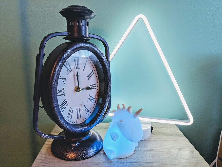 I like to keep a very loud analog clock and a color-changing unicorn in my room to help supply background stimulus so I can stay focused on things I actually need to do.