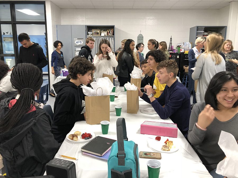 Starr's Mill French exchange students with their hosts in French teacher Jill Snelgrove's room for a welcome breakfast. While here, the students from France visited various classes and traveled to Atlanta to see some popular tourist stops.