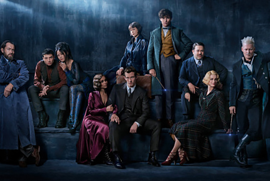 """The """"Fantastic Beasts: Crimes of Grindelwald"""" cast poses for a picture in their characters to advertise the release of their newest movie. This movie continues the narrative that began with """"Fantastic Beasts and Where to Find Them"""" and brings back all of the fan-favorite characters for an intense continuation of the story."""