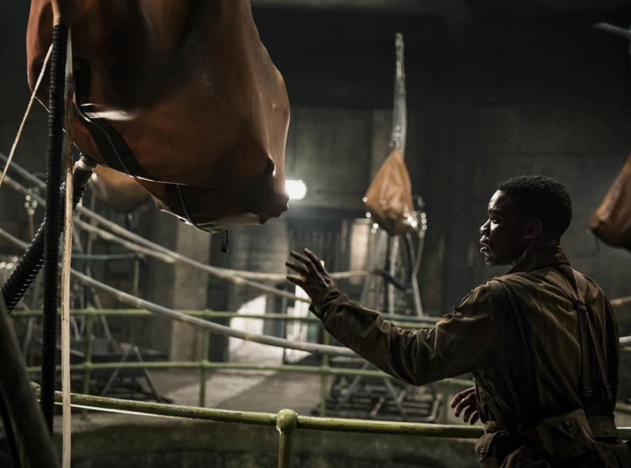 """Boyce, the mediocre action hero of Nazi-zombie thriller """"Overlord,"""" explores a secret lab where the dead have been revived as vicious monsters. Like the creatures in it, this movie was worse than the idea that inspired it, and never should have been created."""