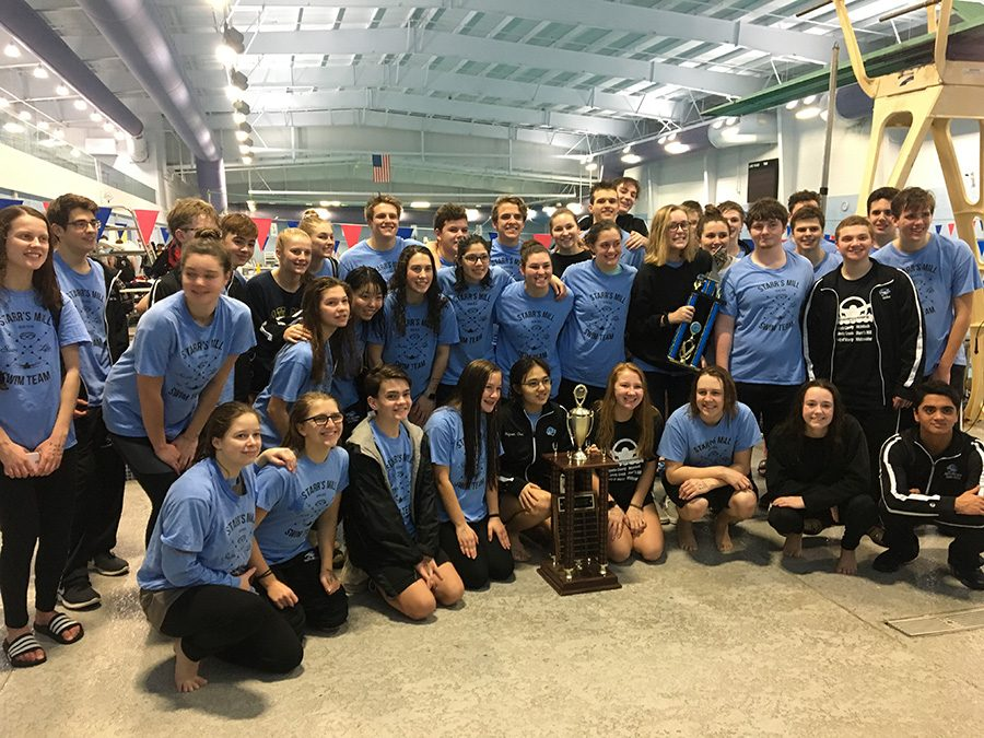 The swim team poses with the County Championship trophy to celebrate the 19th straight win. Starr's Mill ended the event with 734 points. McIntosh High School finished second with 613. Whitewater accumulated 423 points to finish third.