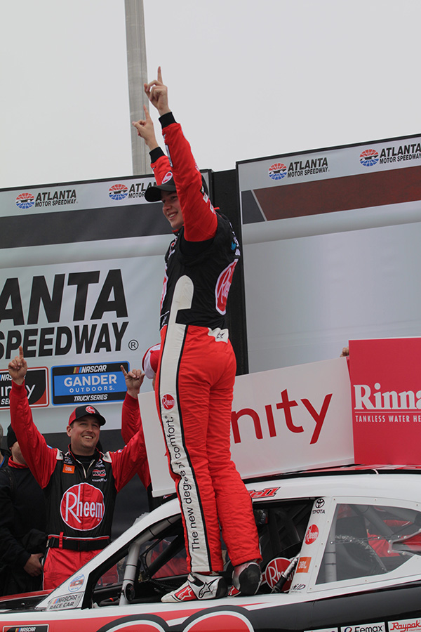 Christopher+Bell%2C+driver+of+the+No.+20+Toyota+for+Joe+Gibbs+Racing+sponsored+by+Rheem%2C+celebrates+his+win+in+the+Rinnai+250.+Bell+ended+in+first+during+all+three+stages+of+the+race+and+led+a+total+of+142+laps.+This+was+Bell%E2%80%99s+9th+career+victory+in+the+NASCAR+Xfinity+Series.