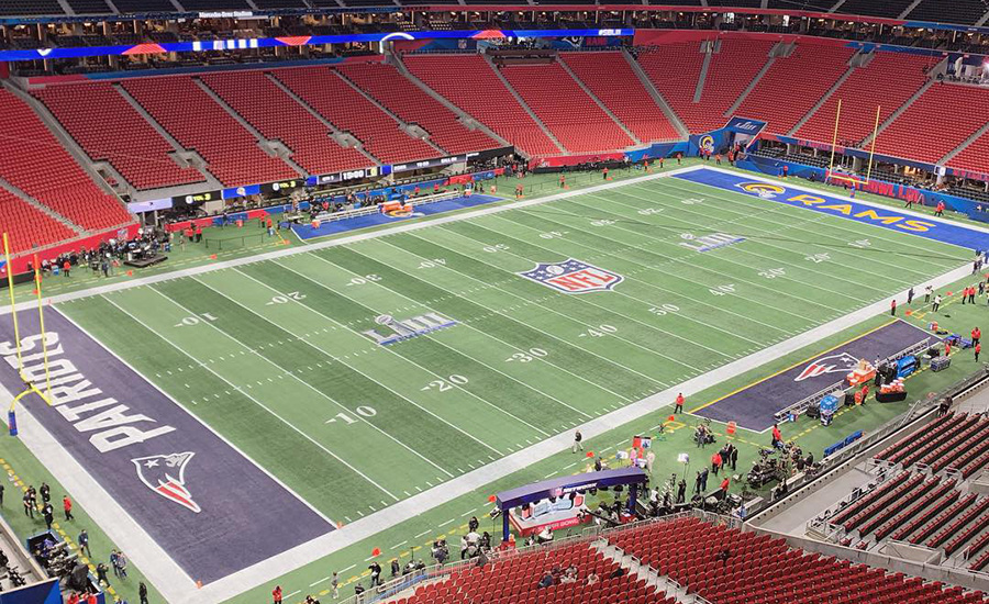 The empty field and stadium six hours before the Super Bowl mayhem began. Attending the Super Bowl was a great experience, but pretty underwhelming for me as it was just another Sunday of work.