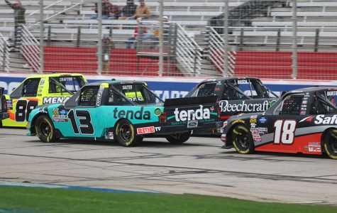 Harrison Burton (No. 18) in his 17th career start, trails seasoned NASCAR Gander Outdoors Truck Series drivers Johnny Sauter (No. 13) and Matt Crafton (No. 88). Young drivers like Burton are finding ways to move up the respect ladder in the eyes of the more experienced drivers.