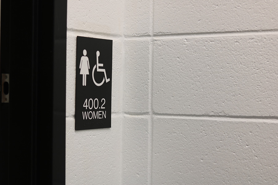 As part of the school's renovation, new signs have been placed at the bathrooms adjacent to the front office. While the change isn't permanent, what purpose do these bathrooms serve at Starr's Mill today?