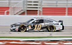 Aric Almirola, driver of the No. 10 Smithfield Ford for Stewart-Haas Racing, won the pole with a time of 30.550 seconds. He lead a pack of Fords that crowded the top five spots, with Denny Hamlin's No. 11 FedEx Ground Toyota for Joe Gibbs Racing being the only non-Ford top-five finisher.