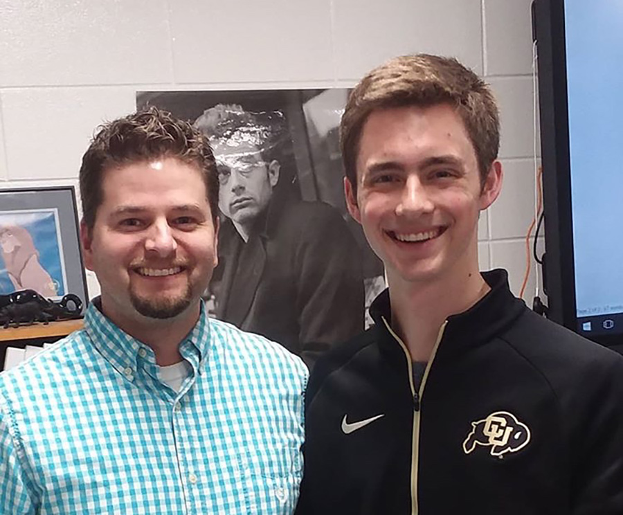 STAR Student Ian Fertig stands beside his choice for STAR Teacher, Justin Spencer. Fertig earned the honor because he had the highest SAT score in the class of 2019.