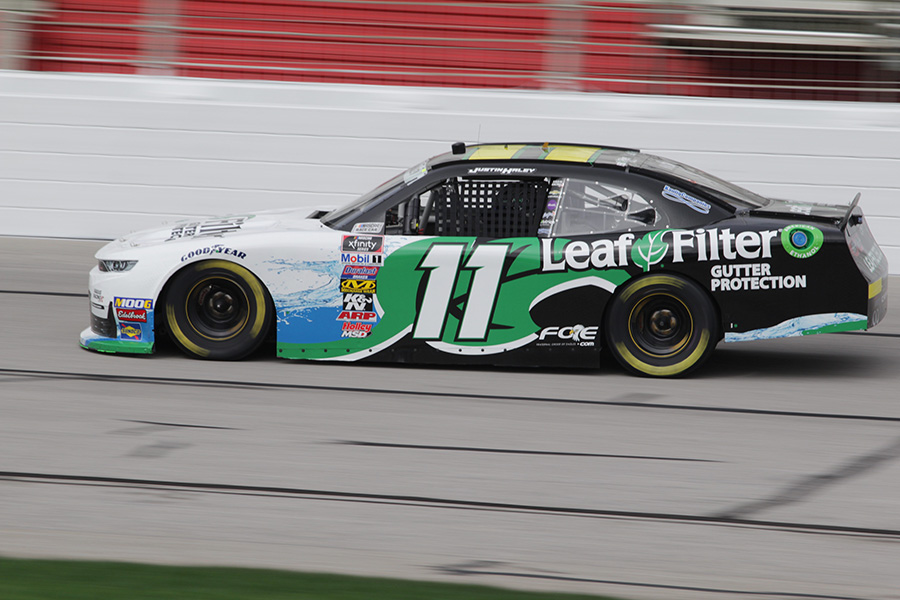 Justin Haley, driver of the No. 11 LeafFilter Gutter Protection Chevy for Kaulig Racing, finished with a time of 31.184 seconds and a top speed of 177.783 mph. Haley led a group of Chevrolet drivers that dominated the standings in the NXS practices. In both practices, Chevy boasted nine top-15 finishers.