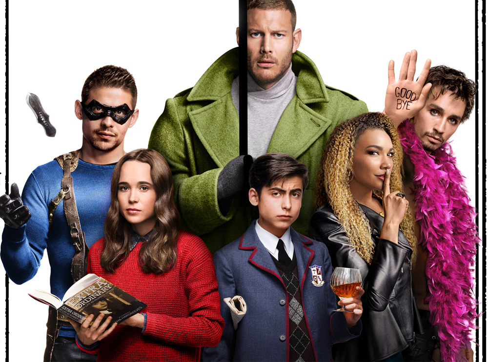 """The six Hargreeves siblings, raised to work together as a super-team, are far more """"super"""" than """"team."""" Their adventures in saving the world are available on Netflix, in """"The Umbrella Academy."""""""