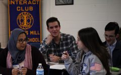 """Students in Interact Club participate in the networking activity game """"elevator speech."""" This game involves the participants talking to and making new connections with others around the room."""