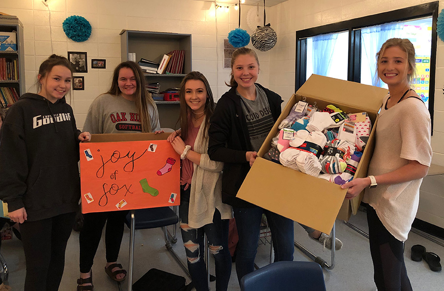 FCCLA donates socks to a local homeless shelter. The organization focuses on helping the community and building leaders.