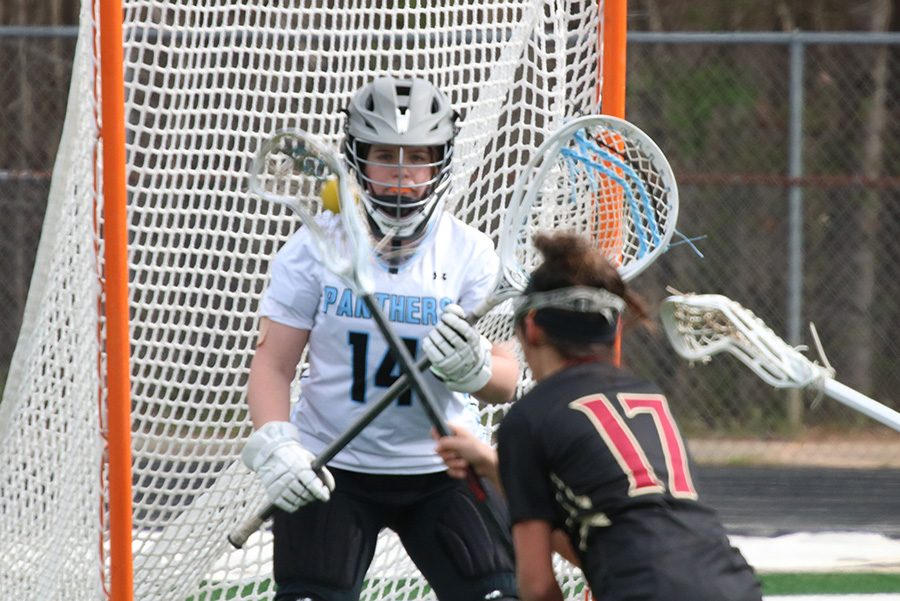 Lady Gladiator faces Panther goalie Kaitlyn Donovan. Donovan played in the second half against Johns Creek, and despite making many saves she allowed five goals in the half, allowing Johns Creek to overcome a late-game three goal deficit and force overtime.