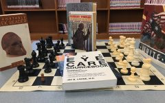 Plethora of book topics surrounding the Media Center chessboard represents the variety of interests that Starr's Mill students have. If an interest is shared by many, they may influence the development of new electives offered.