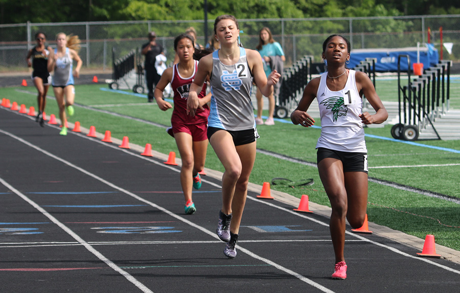 McIntosh+High+School%E2%80%99s+Kayla+Rose+and+Starr%E2%80%99s+Mill+sophomore+Allie+Walker+finish+running+the+1600-meter+race.+Walker+placed+second+with+a+time+of+5+minutes%2C+20.23+seconds.+Rose+placed+first+with+a+run+of+5%3A20.02.