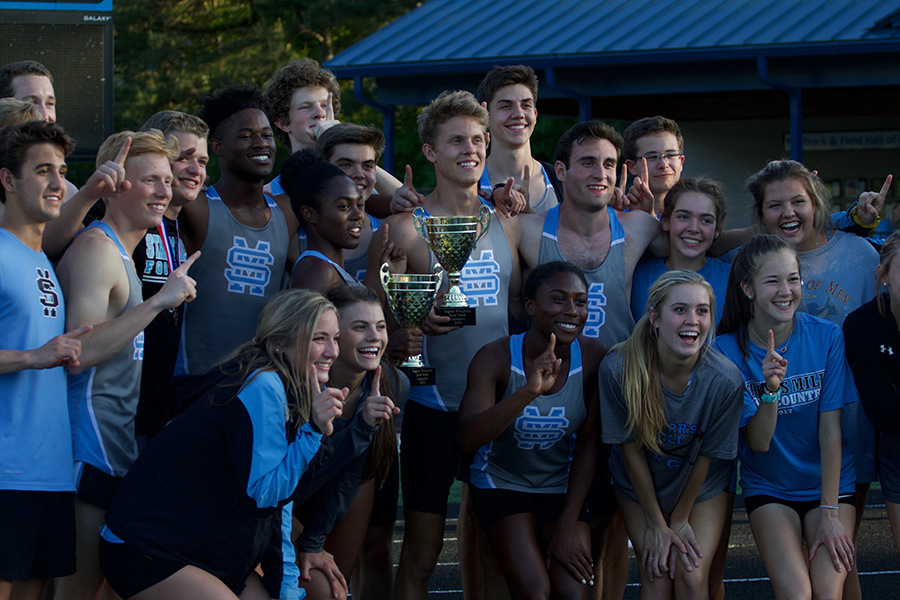 Track+team+poses+for+a+photo+with+the+trophies+from+the+Region+3-AAAAA+track+championships.+The+girls+earned+153+points%2C+41+more+than+second+place+Fayette+County.+The+boys+finished+38+points+ahead+of+second+place+Whitewater.