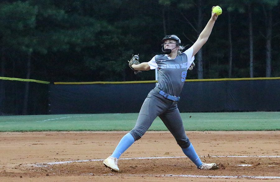Sophomore+Lilli+Backes+pitches+against+McIntosh.+Backes+threw+a+one-hit+complete+game+shutout%2C+including+15+strikeouts+and+four+walks.+She+also+performed+well+offensively%2C+adding+two+RBIs+on+her+1-4+batting+night.