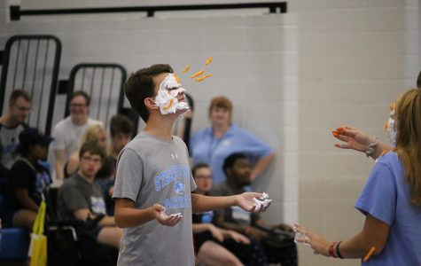 Sept. 10, 2019 - Sophomore Peter Beardsley participates in the pep rally. The objective of the game was to throw Cheetos onto their partners face, whoever had the most Cheetos on their face won.