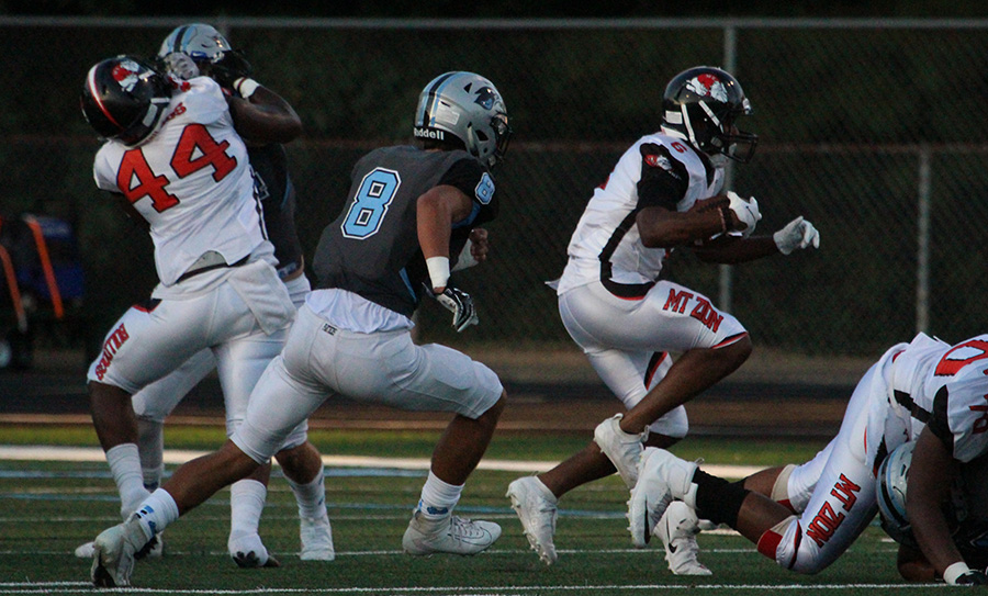 Junior Cole Bishop pursues an opposing Bulldog. The Panthers made defense a priority in the win over Mt. Zion giving up only 273 yards in the 14-8 win.