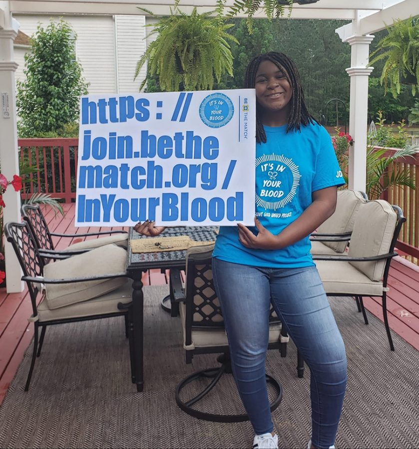 Senior Joy Inya-Agha pictured promoting her Girl Scout Gold Award campaign. Her aim is to bring awareness to the registry for being a donor for bone marrow and stem cells to potentially save lives.