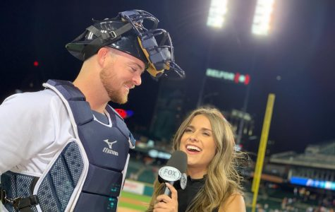 Panther grad Brooke Fletcher interviews Detroit Tigers catcher, Jake Rogers. Fletcher works with FOX Sports Detroit as a sideline reporter for covering games for the Tigers, Redwings, and Pistons.