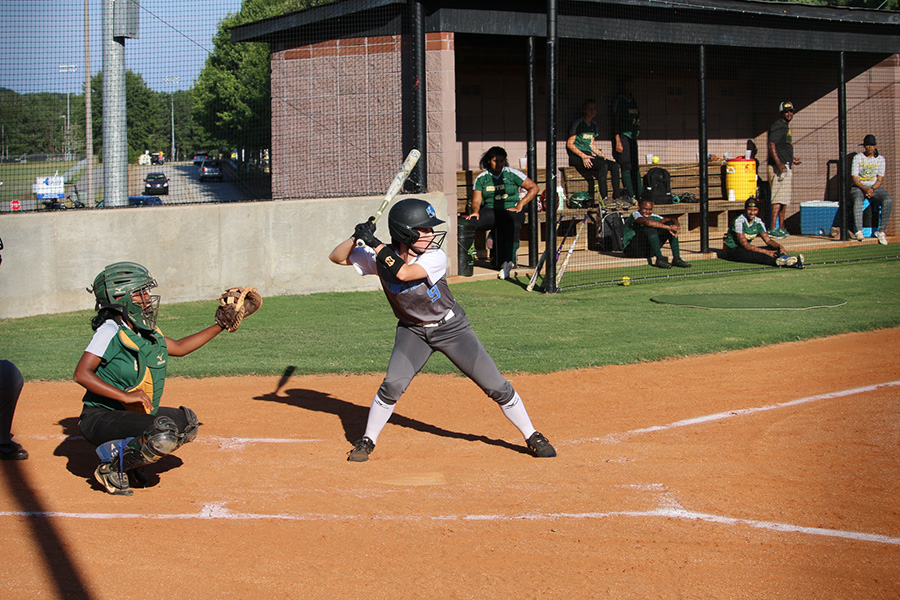 Junior Jolie Lester at the plate against Griffin. Midway through the season, Lester has accumulated 21 hits, 13 RBIs, and a batting average of .477.